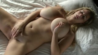Cute blonde fingering her puffy pussy to orgasm